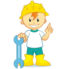 Happy Builder in cartoon style wearing a hard hat holding a wrench. Vector illustration. Isolated on white background.