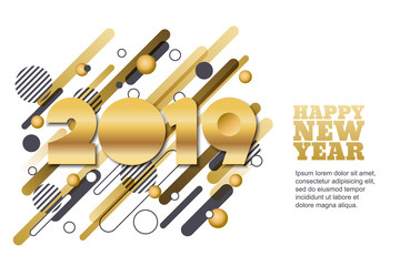 Happy New Year 2019 vector paper cut banner or greeting card. Golden numbers on motion geometric shapes background.