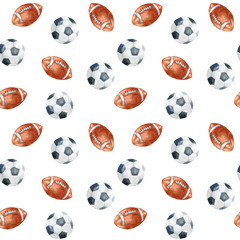 Seamless pattern with soccer balls on white background.