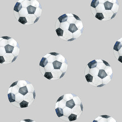 Seamless pattern with soccer balls.