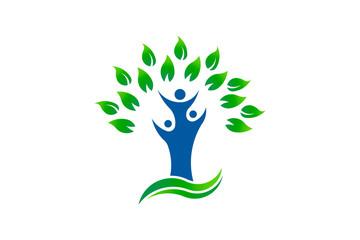 Green tree people environment organic logo
