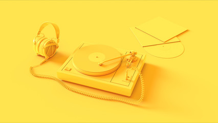 Yellow Vintage Turntable Record Player with Headphones 3d illustration
