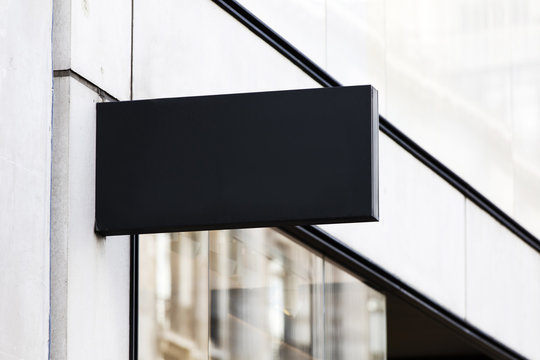 Blank sign outside a shop or restaurant with copy space