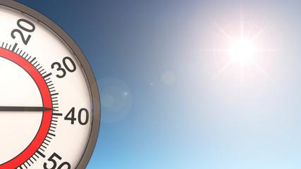 Thermometer und Sonne - Hitze