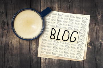 Blog, blog, blog - blogging concept with cup of espresso coffee