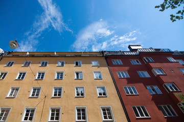 Residential building facades in Sodermalm