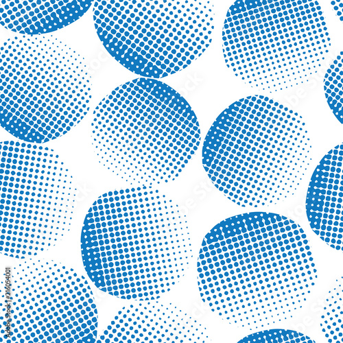 Seamless vector background blue textured circles  Blue dots on white