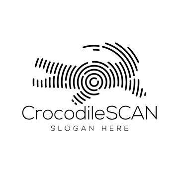 crocodile Scan Technology Logo vector Element. Animal Technology Logo Template