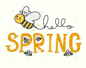Hello spring cute bee doodle cartoon vector illustration