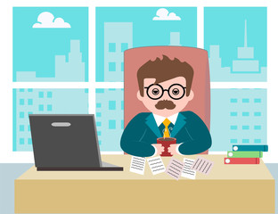 young male guy businessman worker sitting in the office at work