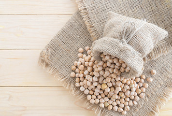 beautiful chickpeas on hemp sack
