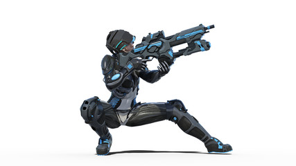 Futuristic female soldier, military woman armed with rifle shooting on white background, sci-fi girl, 3D rendering