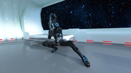 Futuristic soldier, sci-fi military member armed with rifle shooting inside spaceship, 3D rendering