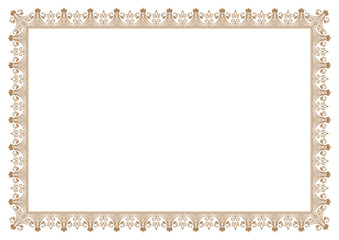 Floral frame border for certificate with Crown