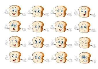 bread characters set cartoon. vector illustration