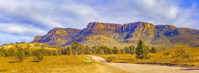 Panoramic landscape of Flinders Ranges in Ikara-Flinders National Park, South Australia