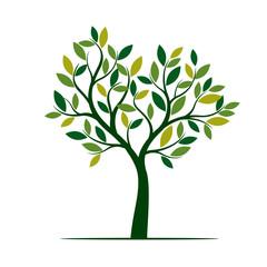 Green Spring Tree. Vector Illustration.