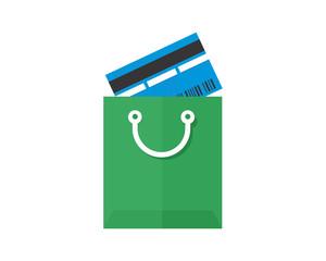 green shopping bag card image vector icon logo symbol