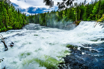 Water of the Murtle River as it tumbles over the cusp of Dawson Falls in Wells Gray Provincial Park in British Columbia, Canada Wall mural