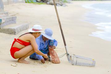 Woman big body enjoy with red bikini and hat