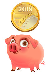 2019 gold coin and funny pig symbol of year