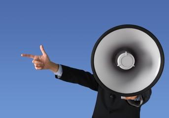 Businessman talking on the megaphone