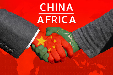 Concept image of  Handshakes between China-Africa, economic relations, Bilateral trade, China invest in  Africa