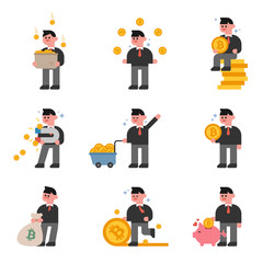bitcoin character flat design style vector graphic illustration set
