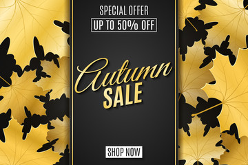 Web banner for Autumn sale. Advertising seasonal banner. Invitation greeting card. Calligraphy and lettering. Golden maple leaves. Dark label with text. Vector illustration