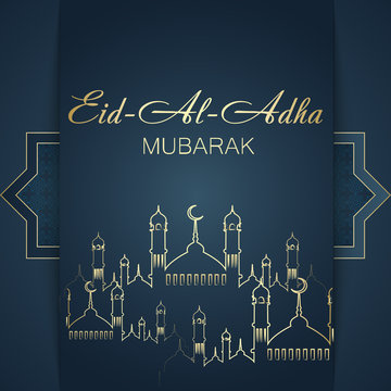 Aid Al Adha greeting card template with mosque. Vector