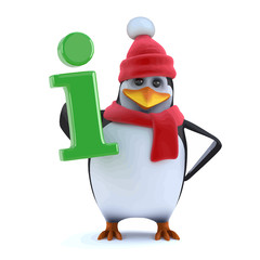 Vector 3d Winter penguin has information