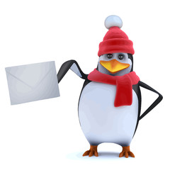 Vector 3d Winter penguin posts a letter