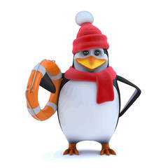 Vector 3d Winter penguin comes to the rescue