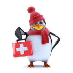 Vector 3d Winter penguin brings first aid