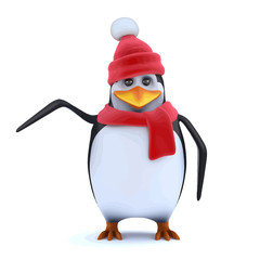 Vector 3d Winter penguin points to something of interest