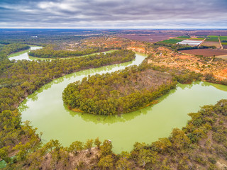 Murray River bends and agricultural fields in Riverland region of South Australia