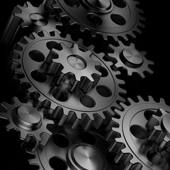 3d rendering high quality metallic shiny gears backgrounds