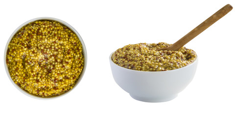French mustard - spice, famous condiment for traditional cooking. Isolated on white. For your design.