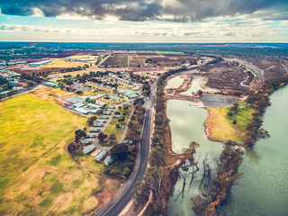 Aerial view of holiday park cabins in Berri, South Australia