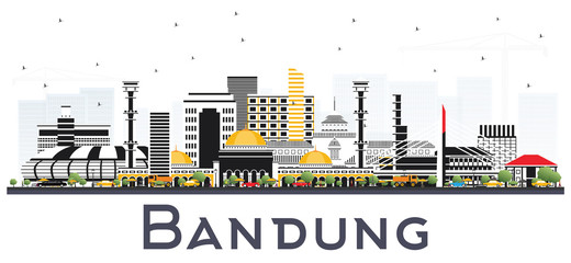 Bandung Indonesia City Skyline with Gray Buildings Isolated on White.
