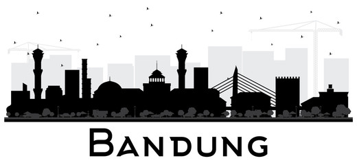 Bandung Indonesia City Skyline Silhouette with Black Buildings Isolated on White.