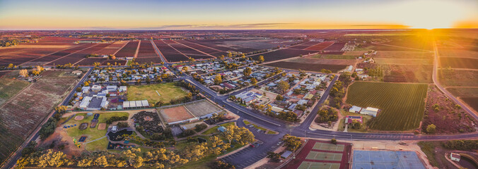 Aerial panorama of Monash - small town in South Australia and farmlands at sunset Wall mural