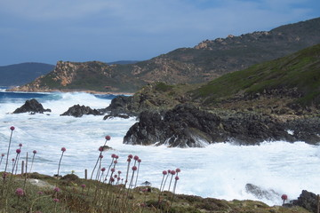 Wild sea crashing on the shore of Ajaccio, the capital of Corsica, Corse-du-Sud, France