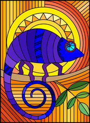 Illustration in stained glass style with abstract geometric blue chameleon on a orange background