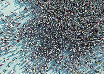 crowd of people viewed from above