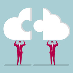 Team concept design, Businessman hold up cloud symbol puzzle. The background is blue.