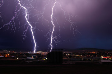 Direct lightning strikes within city.