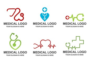 Set of Medical, Stethoscope, Heart Pulse Logo Vector