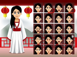 Chinese Period Dress Lady Cartoon Emotion faces Vector Illustration