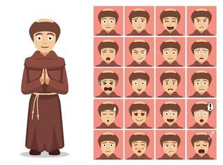 Religion Christian Monk Cartoon Emotion Faces Vector Illustration